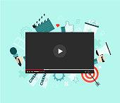 Video concept illustration. Flat design with big player symbol. Cinema. Video marketing campaign. Content. Vlog.