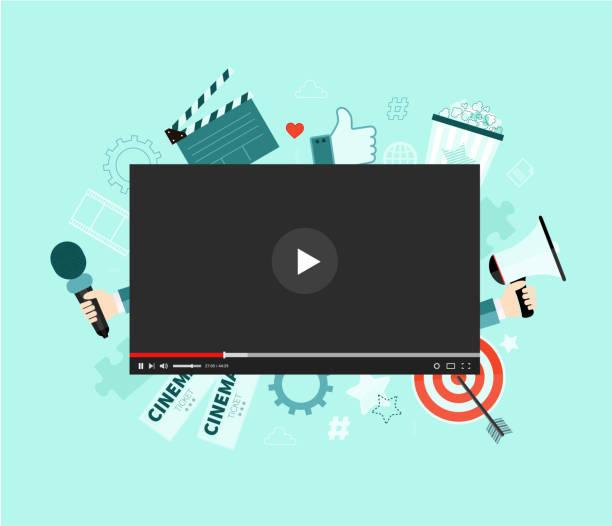 stockillustraties, clipart, cartoons en iconen met videoconcept - youtube
