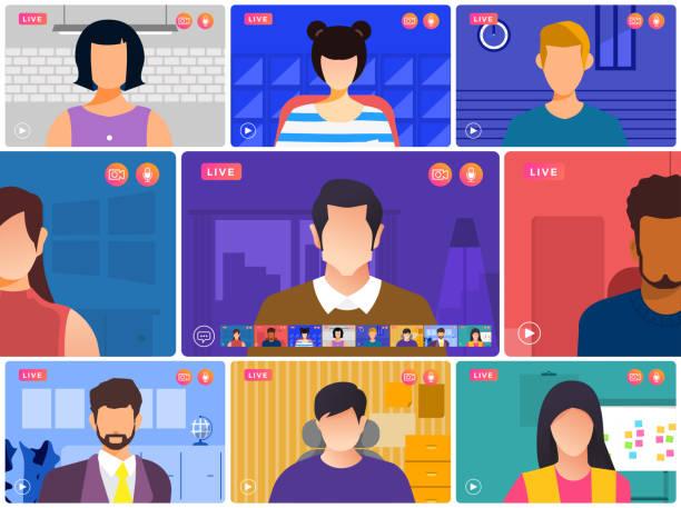 視訊會議 01 - virtual meeting 幅插畫檔、美工圖案、卡通及圖標