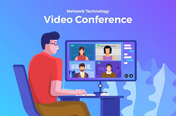 stockillustraties, clipart, cartoons en iconen met videoconferentie 08 - corona scherm