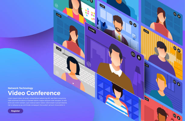 video conference 08 - virtual meeting stock illustrations