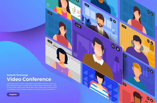 videokonferenz 08 - videokonferenz stock-grafiken, -clipart, -cartoons und -symbole