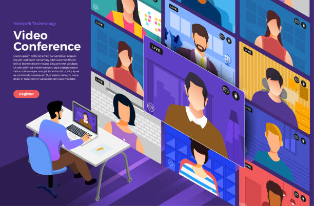 video conference 09 - virtual meeting stock illustrations