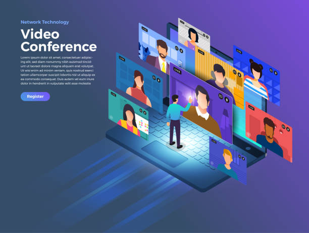 video conference 10 - group of people stock illustrations