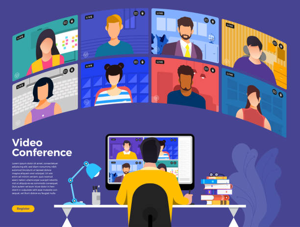 video conference 11 - group of people stock illustrations
