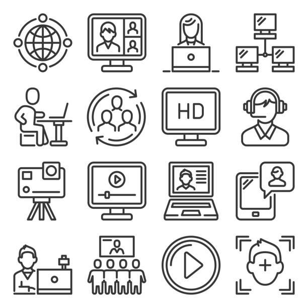 illustrazioni stock, clip art, cartoni animati e icone di tendenza di set di icone di videoconferenza e riunioni online. vettore - video call