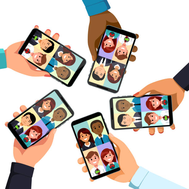 video conference app phone call. five business people group talking together. woman and man hands holding phones showing faces. collective mobile team group call video conferencing communication. flat style vector clipart - virtual meeting stock illustrations