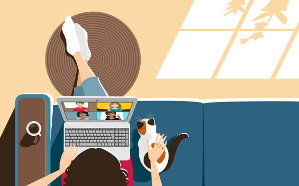stockillustraties, clipart, cartoons en iconen met videoconferentie thuis - thuiswerken
