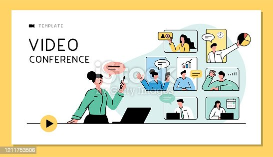 Business people talking in live video communications. Fully editable vectors on layers.