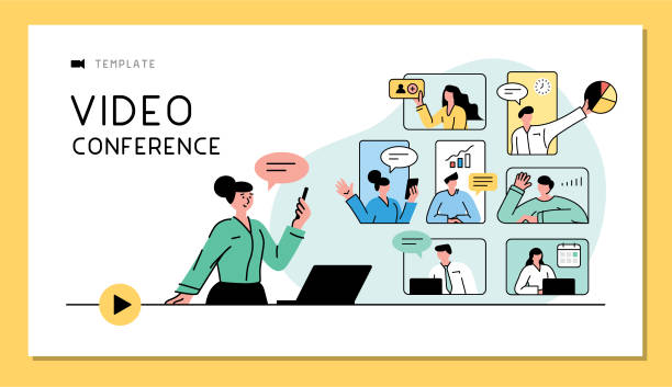 Video conference business concept Business people talking in live video communications. Fully editable vectors on layers. zoom stock illustrations