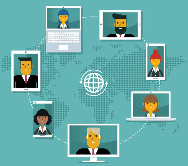 Video conference - Business people vector art illustration