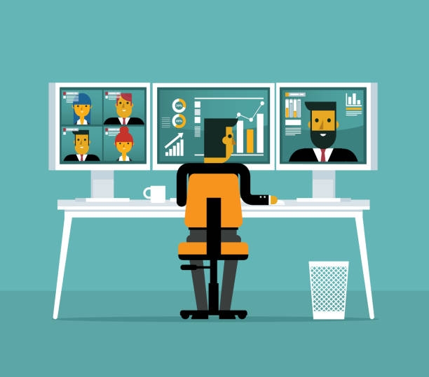 Video conference - Business team vector art illustration