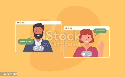 istock Video conference. Colleagues taking part in video conference in home. Working from home. Software for online communication. Vector illustration 1221644450