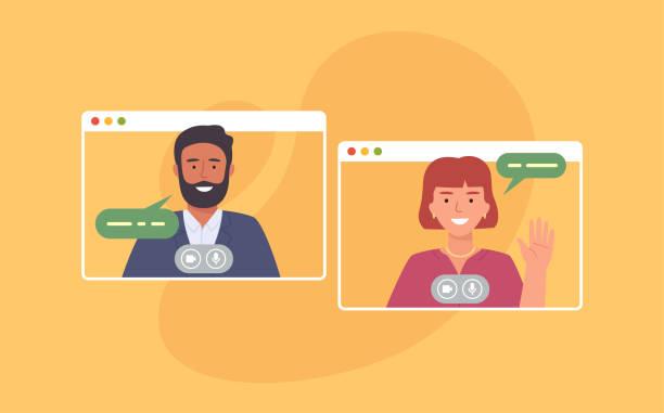ilustrações, clipart, desenhos animados e ícones de videoconferência. colegas participando de videoconferência em casa. trabalhando em casa. software para comunicação on-line. ilustração vetorial - professor