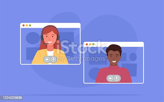 istock Video conference. Colleagues taking part in video conference in home. Working from home. Software for online communication. Vector illustration 1224025838