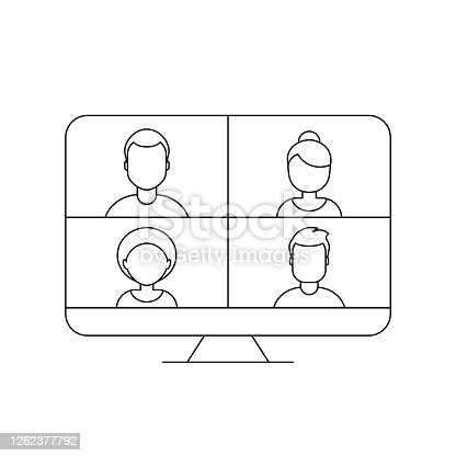 Video call. Work from home during coranavirus pandemic. Virtual meeting of colleagues. Vector illustration, outline, flat, clip art.