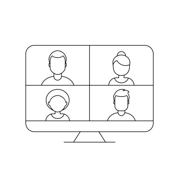 stockillustraties, clipart, cartoons en iconen met video conferentie concept. vier mensen op het scherm van de desktopcomputer. - wat