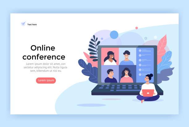 illustrazioni stock, clip art, cartoni animati e icone di tendenza di video conference concept illustration. - didattica a distanza