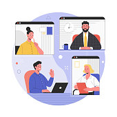 Vector illustration of computer and smartphone screens of colleagues talking during a video call. Isolated on background