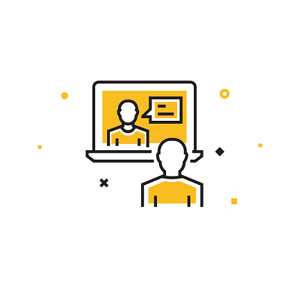 Video Conference Flat Line Icon, Outline Vector Symbol Illustration. Pixel Perfect