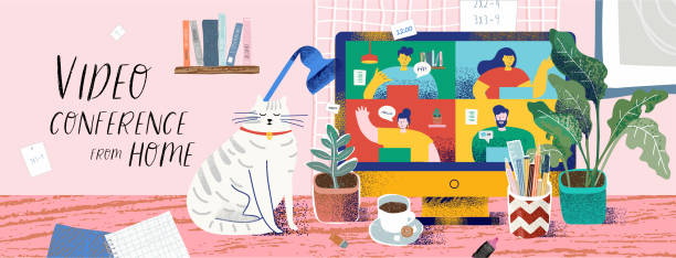 Video conference from home for online meetings and work. Vector illustration of a cozy desktop with a computer and a monitor with people, a cat, a plant, coffee and a stationery. Drawing for bunner vector art illustration