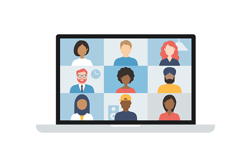 Video conference. Group of people on computer, laptop, notebook, tablet screen. User interface. Multicultural friends and colleagues. Empty faces. Working at Home. Vector stock illustration