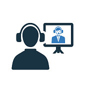 Video conference icon, online interview, vector graphics for various use.