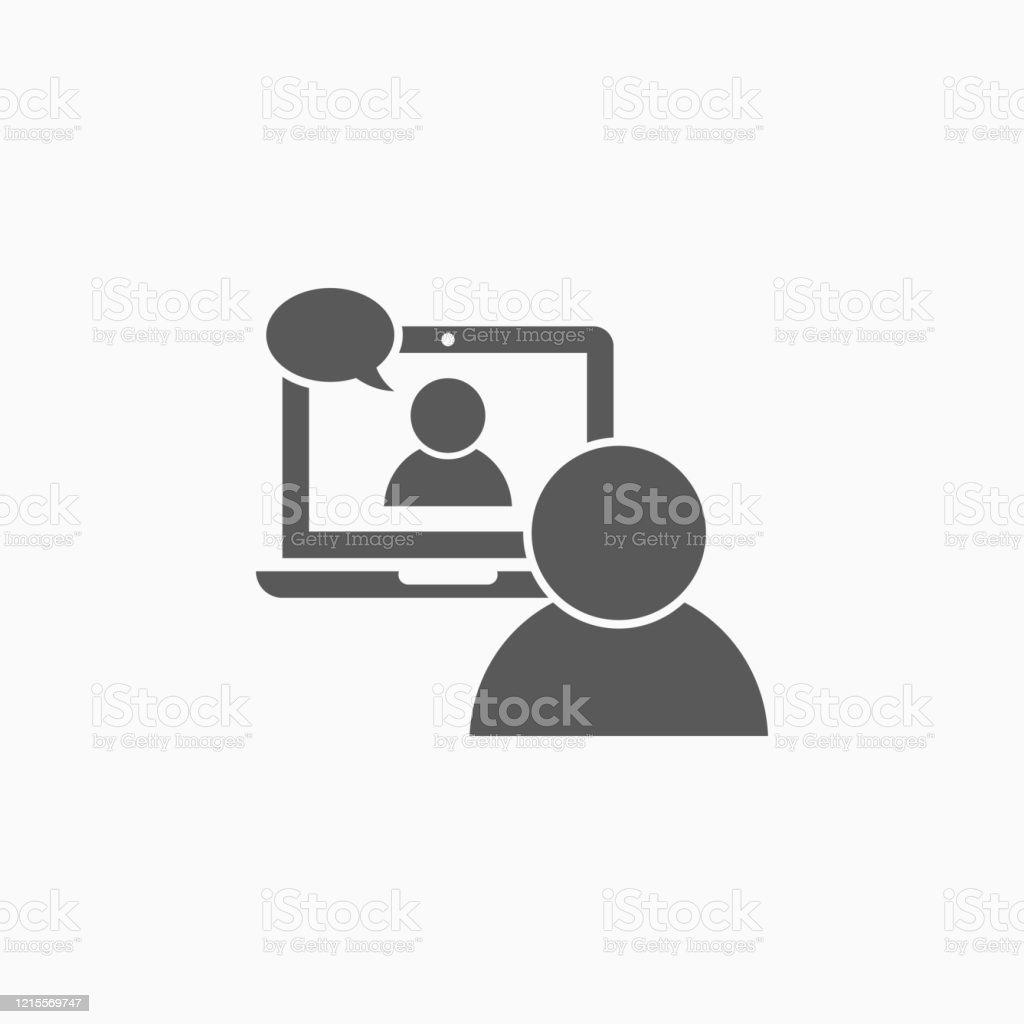 Videokonferenz-Symbol, Video-Chat-Vektor, Videoanruf-Illustration - Lizenzfrei Am Telefon Vektorgrafik