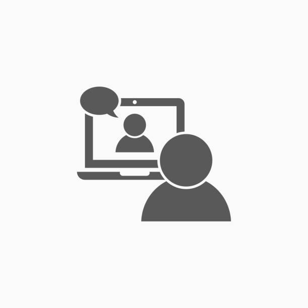 illustrazioni stock, clip art, cartoni animati e icone di tendenza di video conference icon, video chat vector, video call illustration - video call