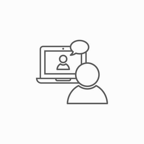 illustrazioni stock, clip art, cartoni animati e icone di tendenza di icona videoconferenza, vettore di chat video, illustrazione di videochiamata - video call