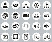 istock Video Conference Icons Black & White Flat Design Circle Set Big 1214116577