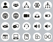 istock Video Conference Icons Black & White Flat Design Circle Set Big 1214116577