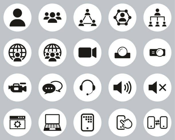 Video Conference Icons Black & White Flat Design Circle Set Big This image is a vector illustration and can be scaled to any size without loss of resolution. zoom stock illustrations