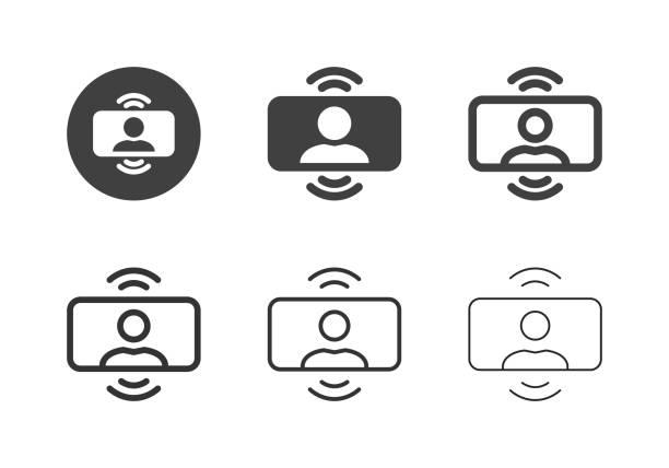 illustrazioni stock, clip art, cartoni animati e icone di tendenza di icone conferenza video - serie multi - video call