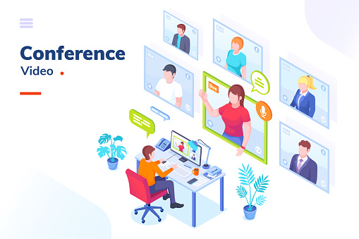 Video conference internet meeting and live video chat isometric vector illustration. Business video call and online communication for remote education, webinar or office chat, video conference call clipart