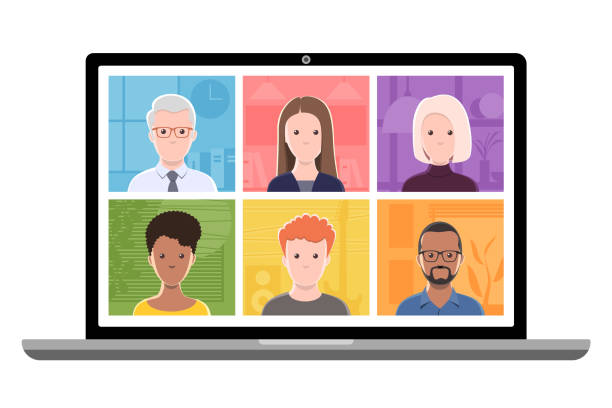 Video conference on a laptop computer. Laptop computer displaying six cartoon style generic people and their environments. The people on the screen are separated objects for easy editing. cartoon people stock illustrations
