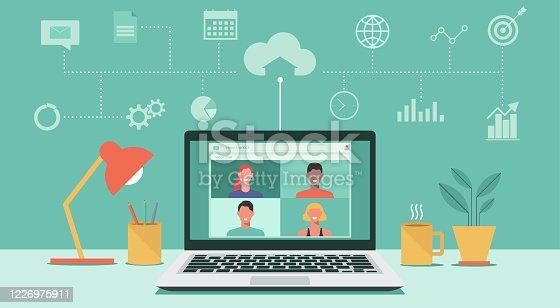 istock video conference on laptop concept 1226975911
