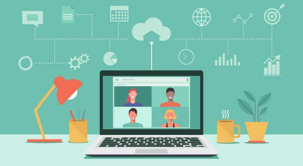 illustrazioni stock, clip art, cartoni animati e icone di tendenza di video conference on laptop concept - new normal
