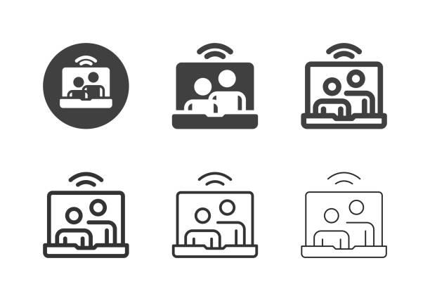 illustrazioni stock, clip art, cartoni animati e icone di tendenza di videoconferenza sulle icone dei laptop - serie multi - video call