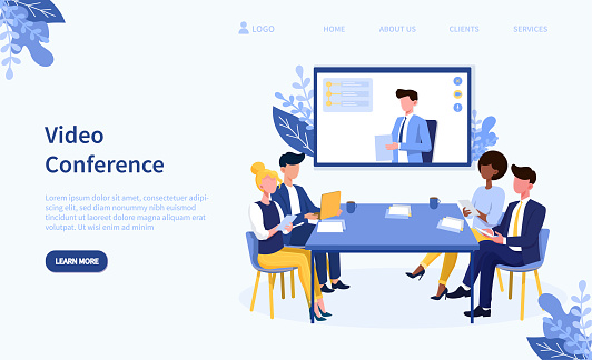 Video conference theme and team in online call