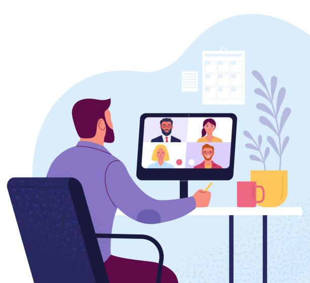 illustrations, cliparts, dessins animés et icônes de vidéoconférence. - visioconférence