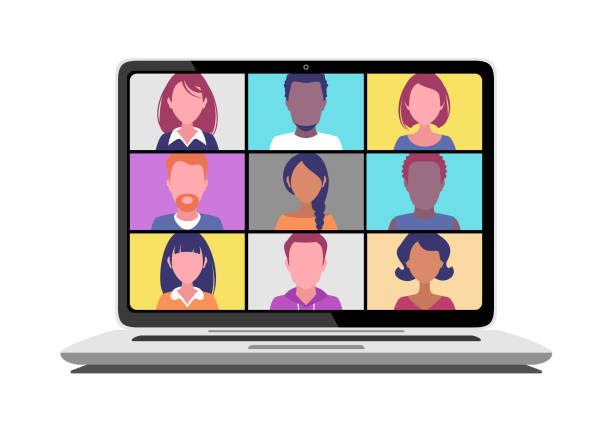 video conference - diversity stock illustrations