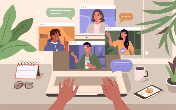 illustrazioni stock, clip art, cartoni animati e icone di tendenza di videoconferenza - video call