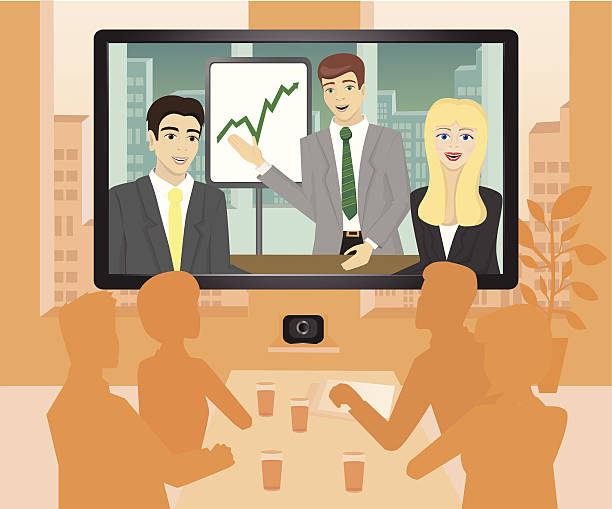 video conference - video konferenz stock-grafiken, -clipart, -cartoons und -symbole