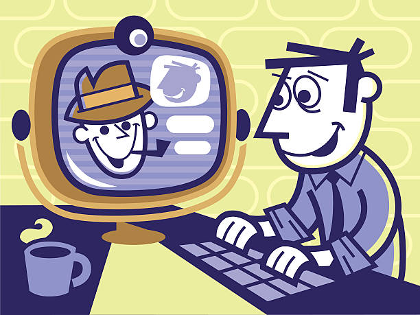 video conference - peter bajohr stock illustrations, clip art, cartoons, & icons
