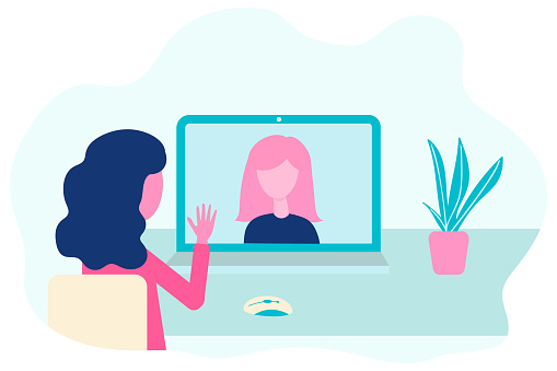 Video conference. Virtual meeting concept. People on computer screen talking. Online communication vector concept in flat design.