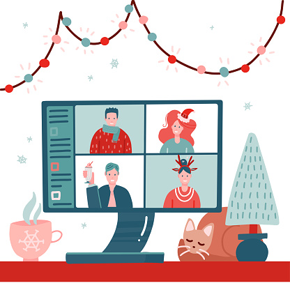 Video conference with people group in winter holiday costumes, meeting online. Friends talking on video. Computer screen, Christmas tree, cup with sleeping cat, Flat vector illustration.