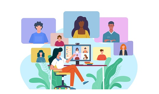 Video conference. Woman at desk provides collective virtual chat. Online business meeting working team webinar with specialist home office during covid-19 quarantine vector concept