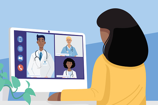 Video conferencing at home, Close-up African young woman having video call meeting with doctors at home. Vector