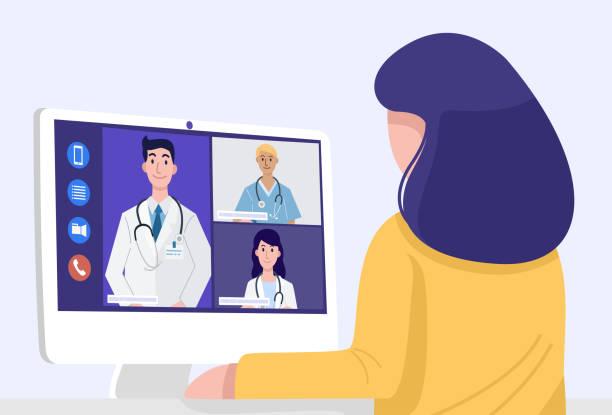 ilustraciones, imágenes clip art, dibujos animados e iconos de stock de videoconferencia en casa, mujer de primer plano que tiene reunión de videollamadas con médicos en casa. vector - telehealth